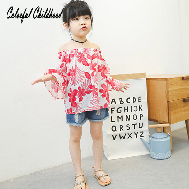 Baby Cotton Doll Shirt 2018 Summer New Girl Childrens Clothing Red Flower Floral Printed Top Blouse Kid Clothes 2-10 Y