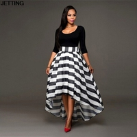 Prom Gown Dress Fashion Sexy Women Long Maxi Formal Party Queen Cocktail Striped Dress Graceful Women