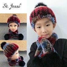 ST. Jessi зимняя шапка для детей настоящий Рекс трикотажный кроликовый мех шапка и шарф теплый с большим помпон из лисьего меха наборы
