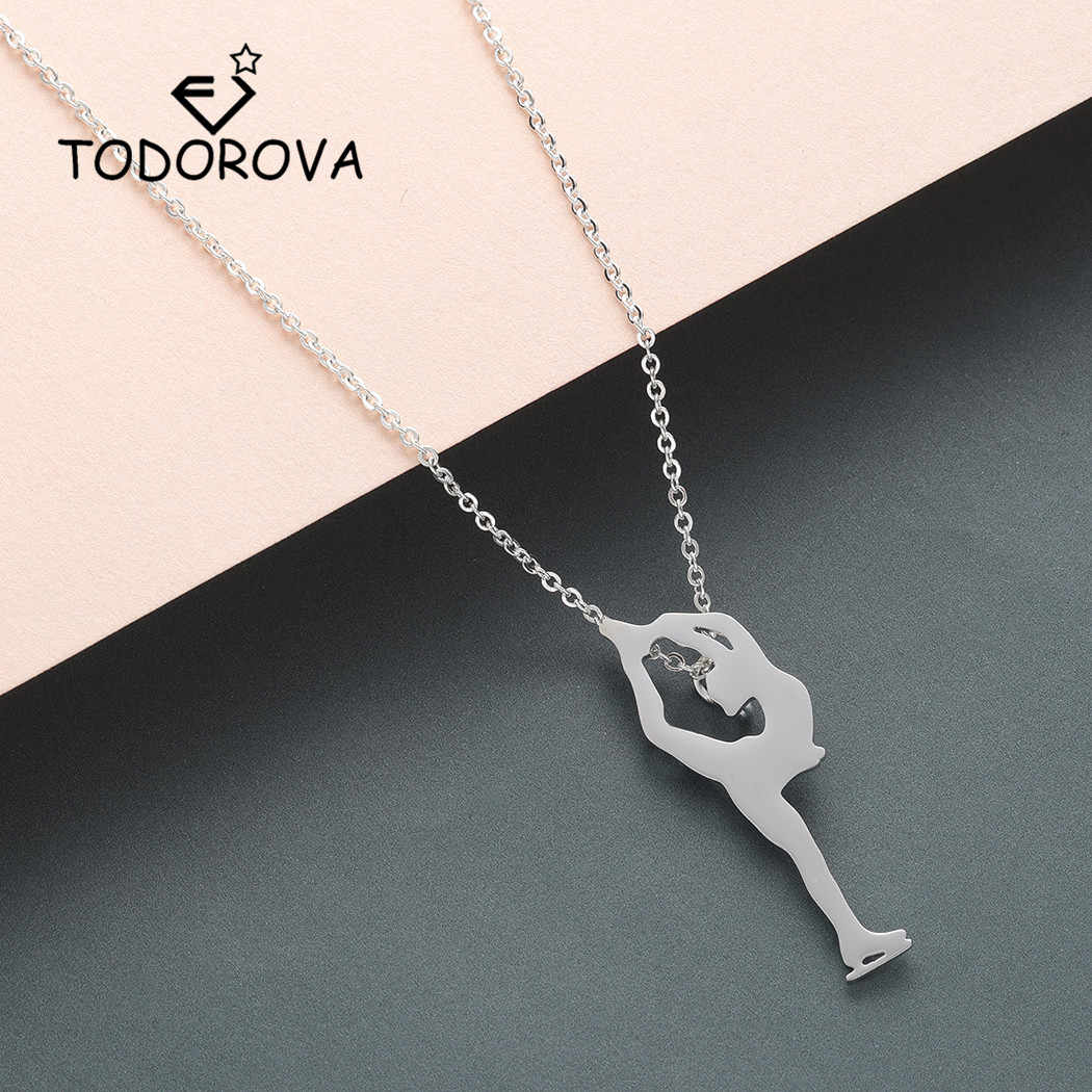 Todorova Figure Skater Women Necklace 2018 Rose Gold Ice Skating Pendant Necklace Men Stainless Steel Jewelry
