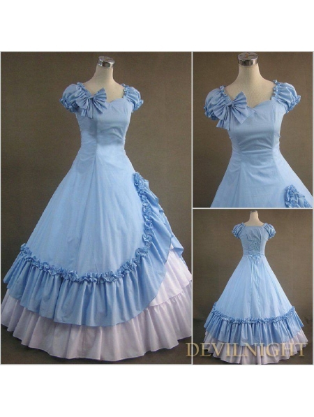 Классический Синий и Белый Раффлед Сладкий Готический Викторианской Платье Платья Фотографии