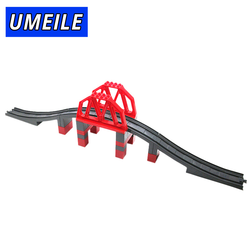UMEILE Brand Train Original City Viaduct Structures Highway-Bridge Big Building Block Railway Set Toys Compatible with Duplo umeile original classic city engineering ladder truck fire engine model car block kids educational toys compatible with duplo