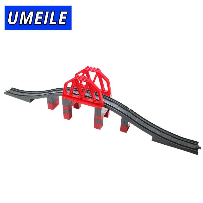UMEILE Train Original City Viaduct Structures Highway-Bridge Big Building Block Railway Set Toys Compatible with Legoing Duplo