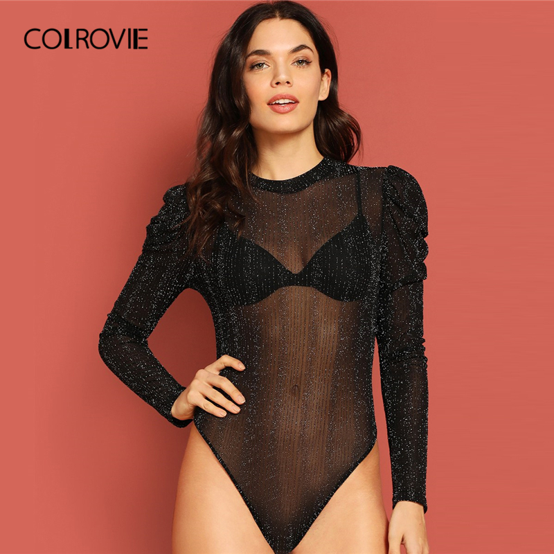 COLROVIE Black Solid Sheer Puff Sleeve Glitter Skinny Sexy Party Bodysuit Women 2019 Spring Transparent Club Ladies Bodysuits
