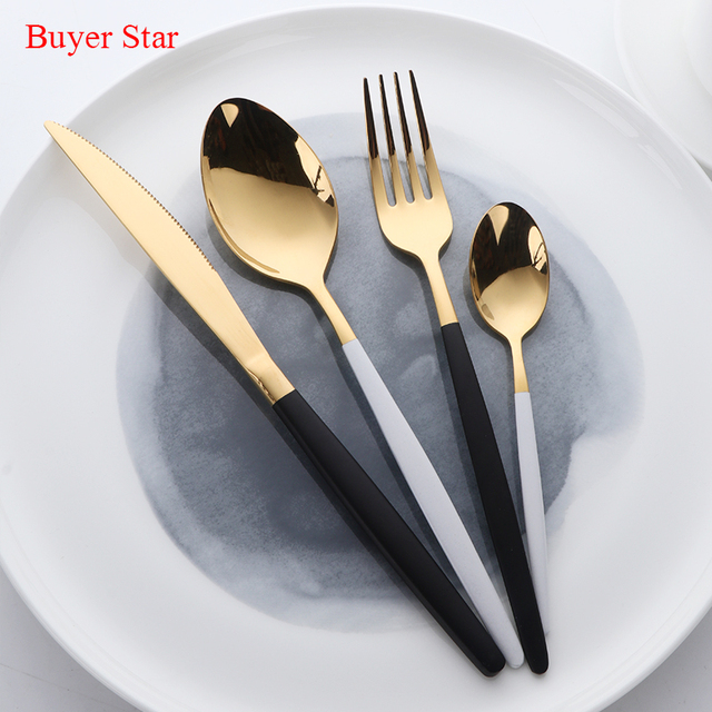 High Grade Flatware Set Gold Polish Black Handle Stainless Steel Food Silverware Dinnerware Utensil Kitchen Dining : black and silver dinnerware - Pezcame.Com