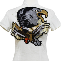 1pieces Large Eagle Gold Sequin Applique Embroidery Applique Sew On Patches Fabric Motif Sewing Supplies For