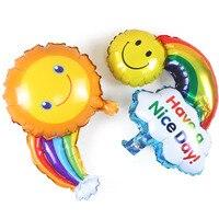 BP украшения для дня рождения Детские вечерние улыбка алюминиевых солнцем слоеное облако радуги шар JJ QQ27