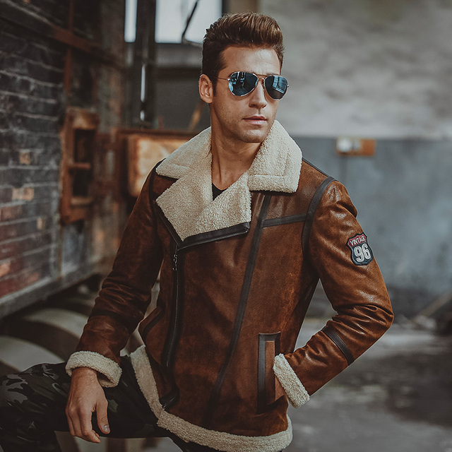 Sheepskin leather bomber jacket men