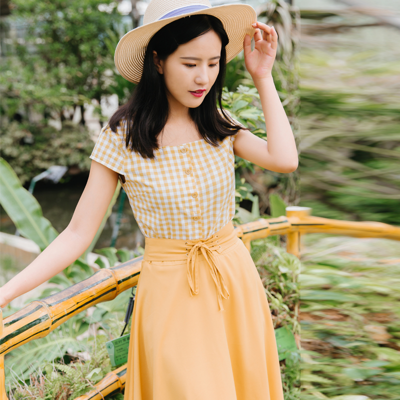 Chic Fashion Two-piece Casual Suits Female Summer 2018 Women Yellow Red Plaid T Shirt A Line Skirt Sets Retro Midi Skirt Suits 4
