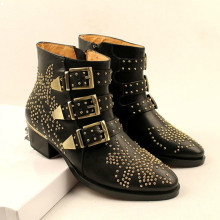 Fashion Beige Studded Leather Ankle Booties Women Low Heeled High Top Boots Navy Motorcycle Bare Boot Shoes Zapatos Mujer