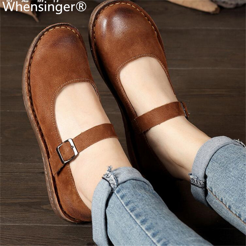 Whensinger - 2018 New Spring New Shoes Buckle Strap Flats Genuine Leather Fashion Design 8567 Casual Sneakers Womens Flat Shoes