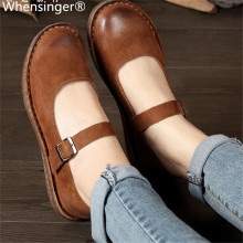 Whensinger - 2018 New Spring Shoes Buckle Strap Flats Genuine Leather Fashion Design 8567 Casual sneakers womens flat shoes