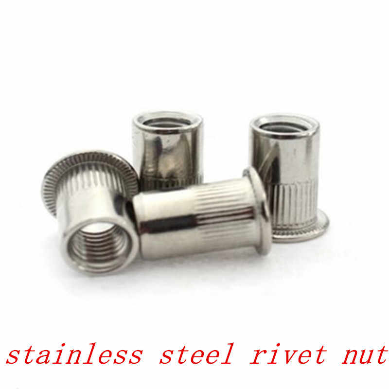 50 Pack M8 x 16 A2 Stainless Steel Flat Head Knurled Rivet Nuts Rivnuts Nutserts