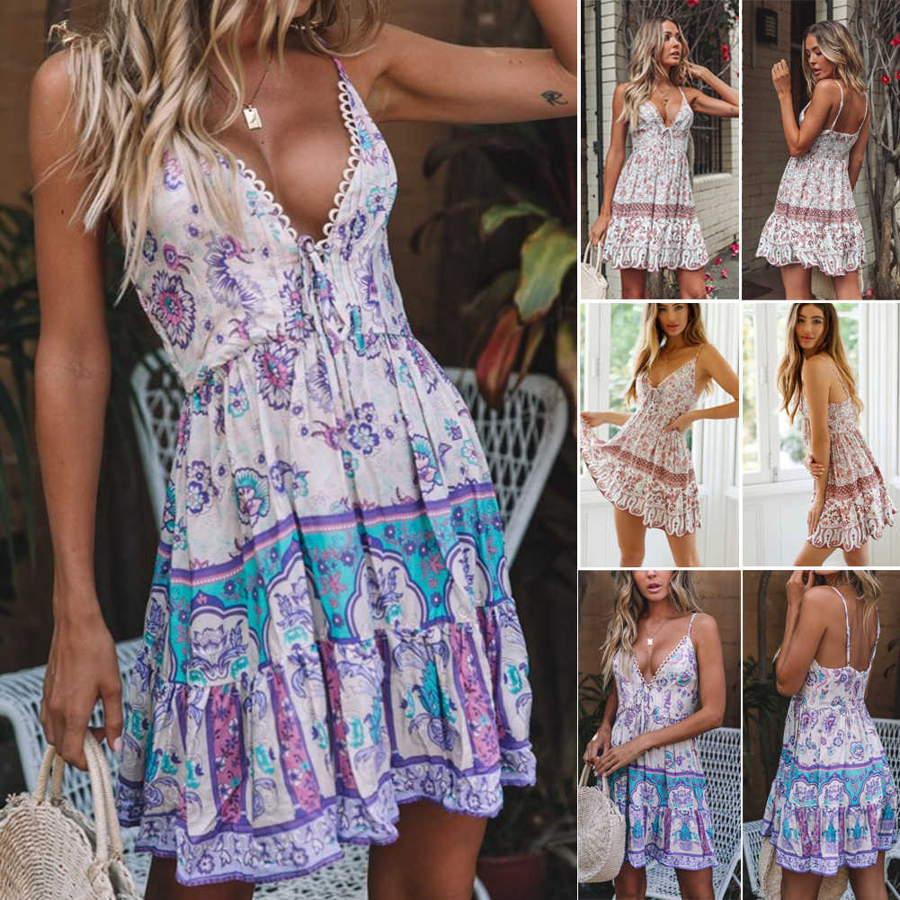 Hirigin mujeres Wrap verano Boho Cachemira floral Mini vestido estampado señoras vacaciones playa