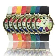 Women Watches Harajuku Graffiti Pattern Leather Band Clock Analog Quartz Vogue Ladies Wrist Watches wholesaleF3