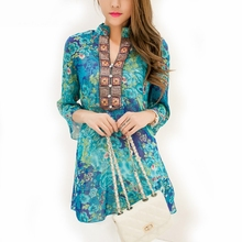 Windreama 2017 Embroidery Blouse Plus Size S 5XL Blouses Summer Cool Chiffon Blusas Feminina Floral Print