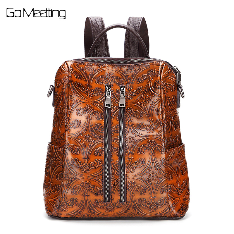New Emboss Genuine Leather Women Backpack Vintage Cow Leather Women Shoulder Bag High quality Backpacks Female Back Pack