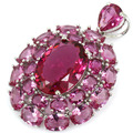 Big Size Pink Tourmaline Created SheCrown Woman's Wedding   Silver Pendant 45x28mm