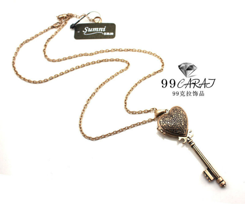 New Design Fashion Jewelry Vintage Gold Color Alloy Key Necklace & Pendants Sweater Chain