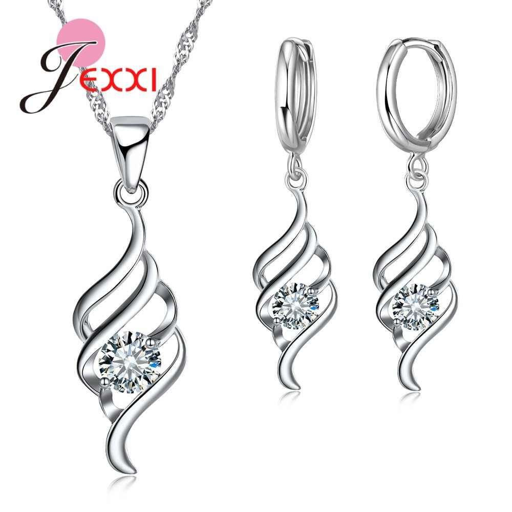 JEXXI 2018 Crystal Cubic Zirconia Statement Necklace + Earrings Sets S90 Silver Color Spiral Shape Jewelry Sets Party Jewelry