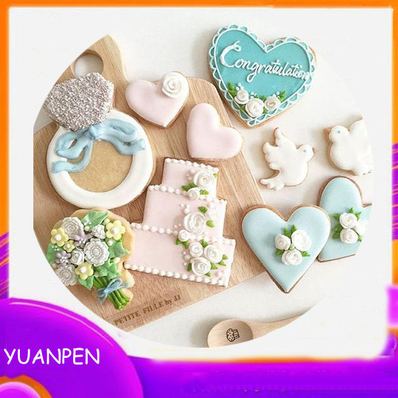 1pcs wedding party bouquet cupcake heart metal cookies cutter gateau biscuit pastry mold Mousse Fondant cake decorating tool(China)