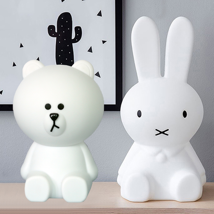 BEIAIDI Cute Rabbit Bear LED Night Light Bedside Baby Sleeping Night Light Lovely Rabbit Christmas Gift For Kids Baby Girl Boy creative cute green cartom car led night light for children baby kids white warm white bedside lamp resin night lamp gift