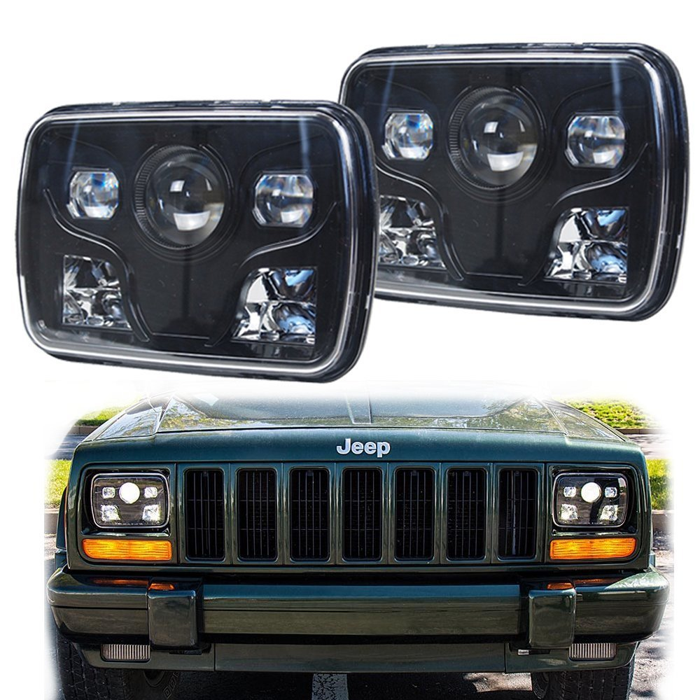 6x7 Square LED Headlights Projector with High/Low Beam DRL Driving Lamp For Truck Jeep Offroad Car - Black high quality car styling case for mitsubishi lancer ex 2009 2011 headlights led headlight drl lens double beam hid xenon