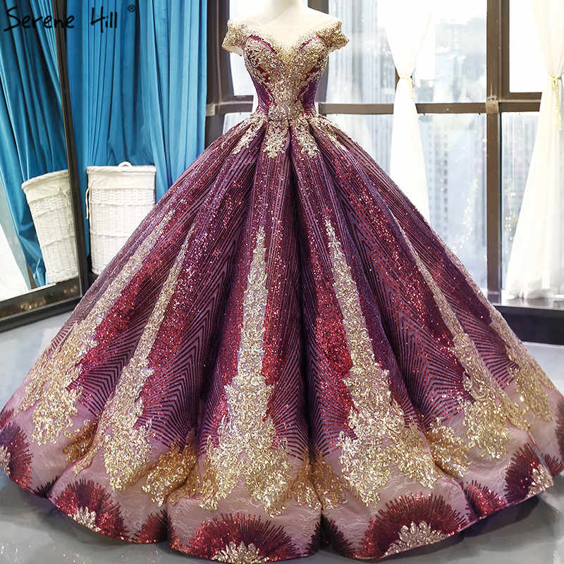 Wine Red Gold Sparkly Sequined Wedding Dress 2019 High-end Sleeveless Sexy Vintage Bridal Wedding Floor-Length HM66754