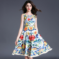 Women Summer Tank Dresses Floral Printed O Neck High Waist Vestidos De Festa Sleeveless Plus Size
