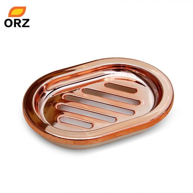 bathroom soap dish rose gold kitchen bathroom storage holder box basket plate bathroom tools for soap