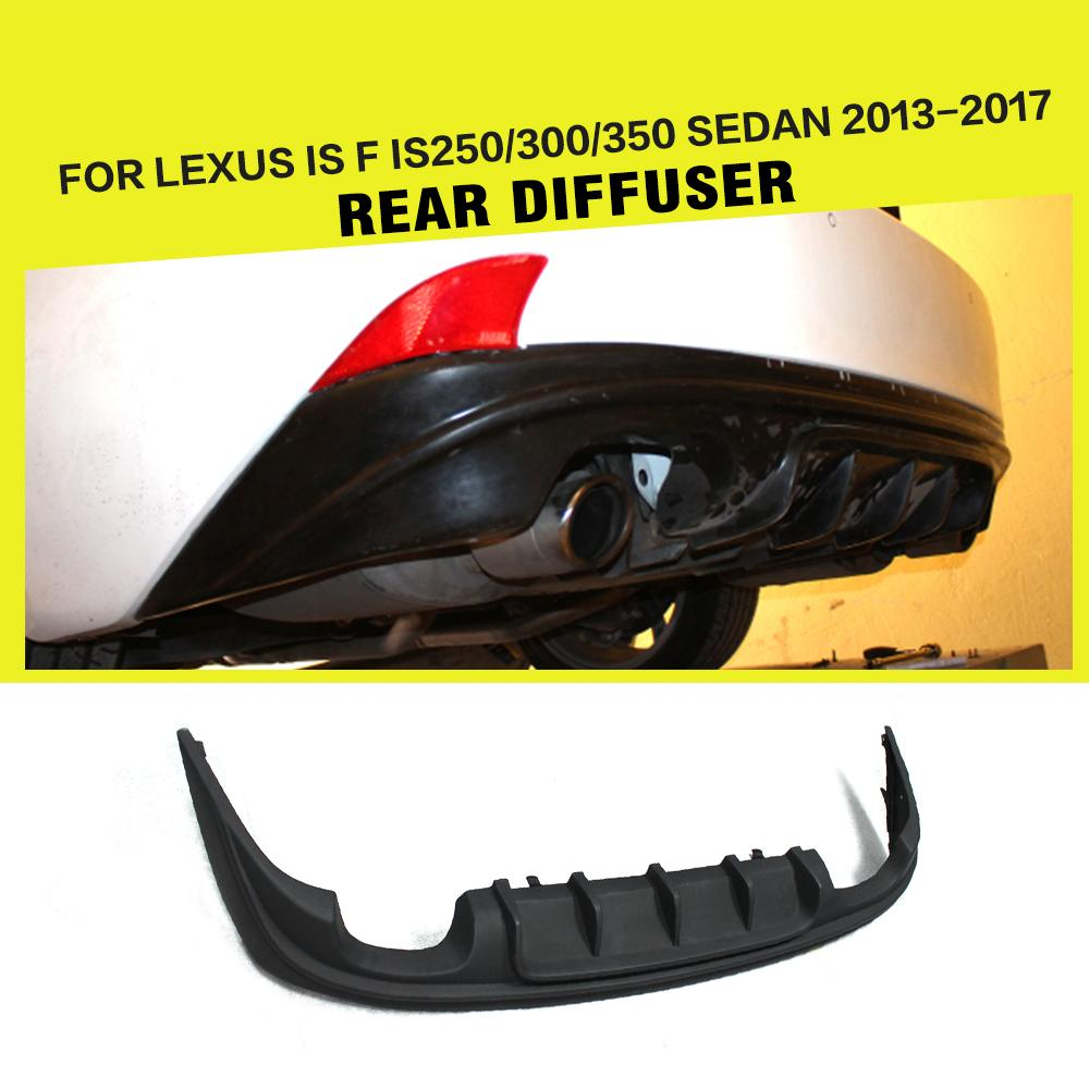 Rear Bumper Diffuser Lip Spoiler For Lexus IS F IS250 IS300 IS350 Sedan 2013-2017 PU UNpainted Black dual exhaust two outlet
