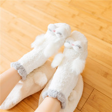 Home Women Girls Warm Soft Bed Floor Socks Lovely Animal Owl Rabbit Thicken Casual Socks Winter Indoor Female Comfortable Sokken