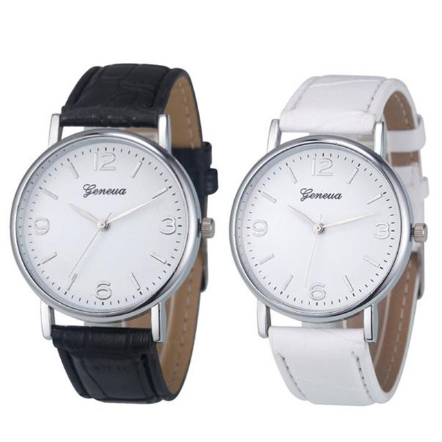 FR@ Durable Hot Selling Round Dial Business Fuax Leather Analog Quartz Unisex Lo