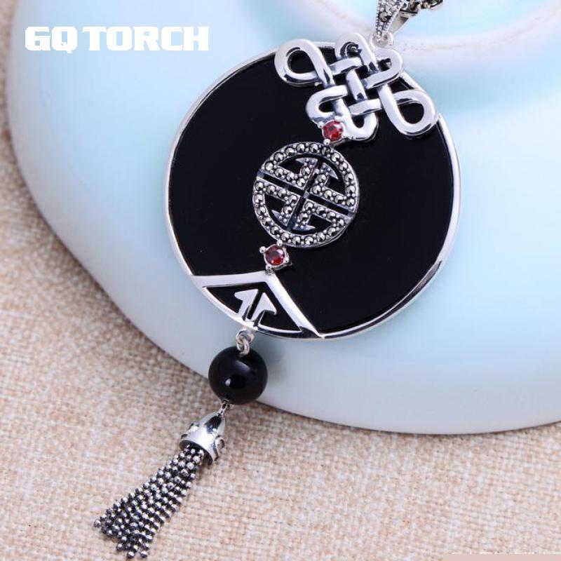 GQTORCH 925 Sterling Silver Tassel Gemstone Pendant Love knot Black Onyx Natural Stone Pendant Women Jewelry Bijuterias