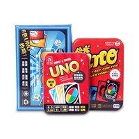 Uno اللعب بطاقة عبة الحديد الملاكمة التعبئة المحمولة للأسرة القمار مضحك الترفيه 108 صفائح