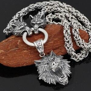 Image 2 - Nórdico viking odin lobo com cabeça de lobo geri e freki colar de aço inoxidável para homem rei corrente com saco de presente valknut