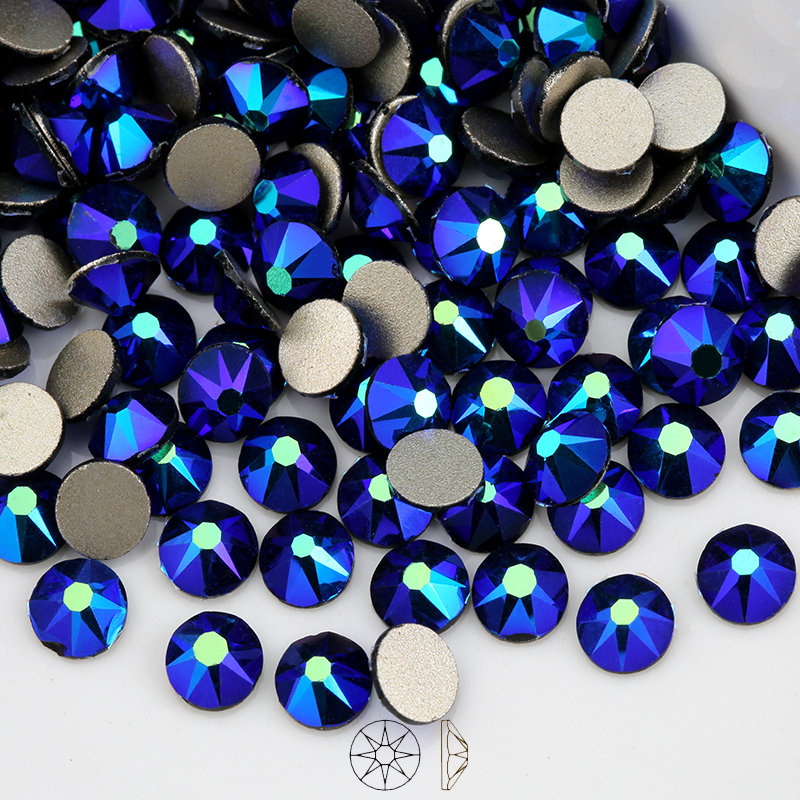 2088 Cut Strass stone New Facted (8 big+8 small) SS16 SS20 Black AB Non hot-fix Rhinestones For cloth
