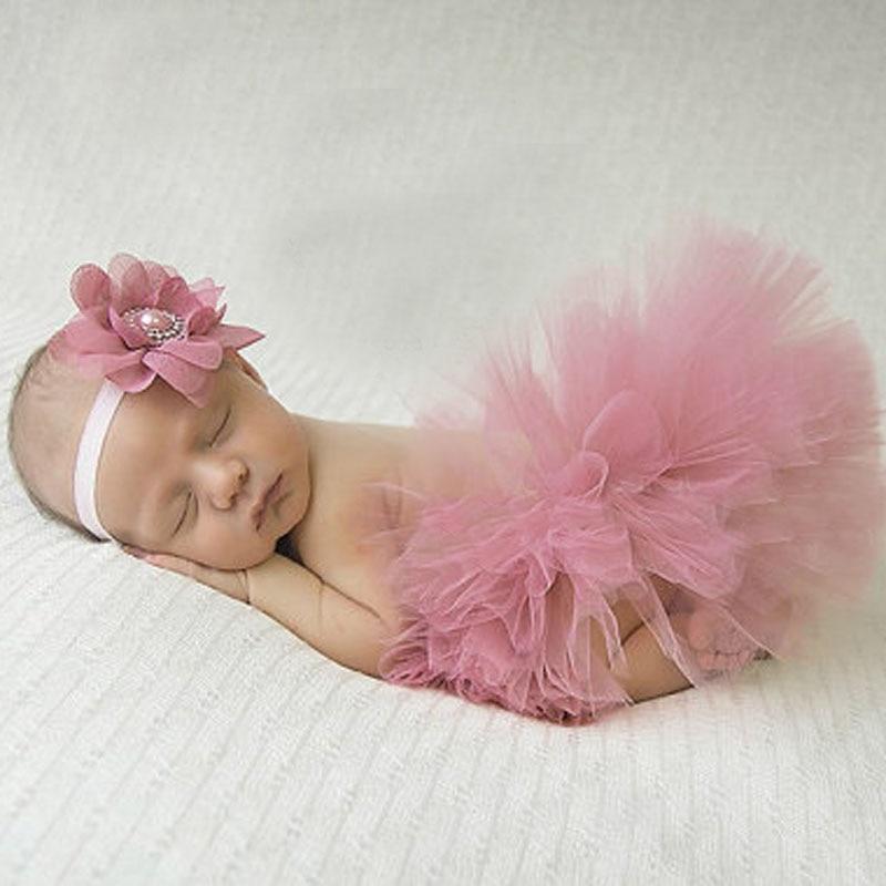 Antigo rosa bonito bebê tutu e flor bandana fotografia recém-nascido prop infantil tutus aniversário tutu ts046