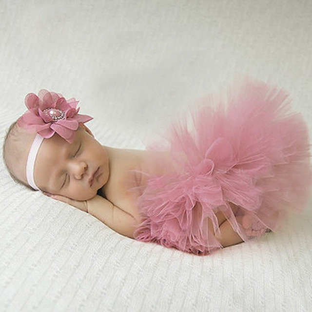 Antique rose pretty baby tutu and flower headband newborn photography prop infant girl tutus birthday tutu