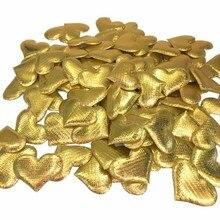 100pcs 3.5cm DIY Heart petals wedding decorations Satin Gold Silver Fabric heart confetti decor supplies