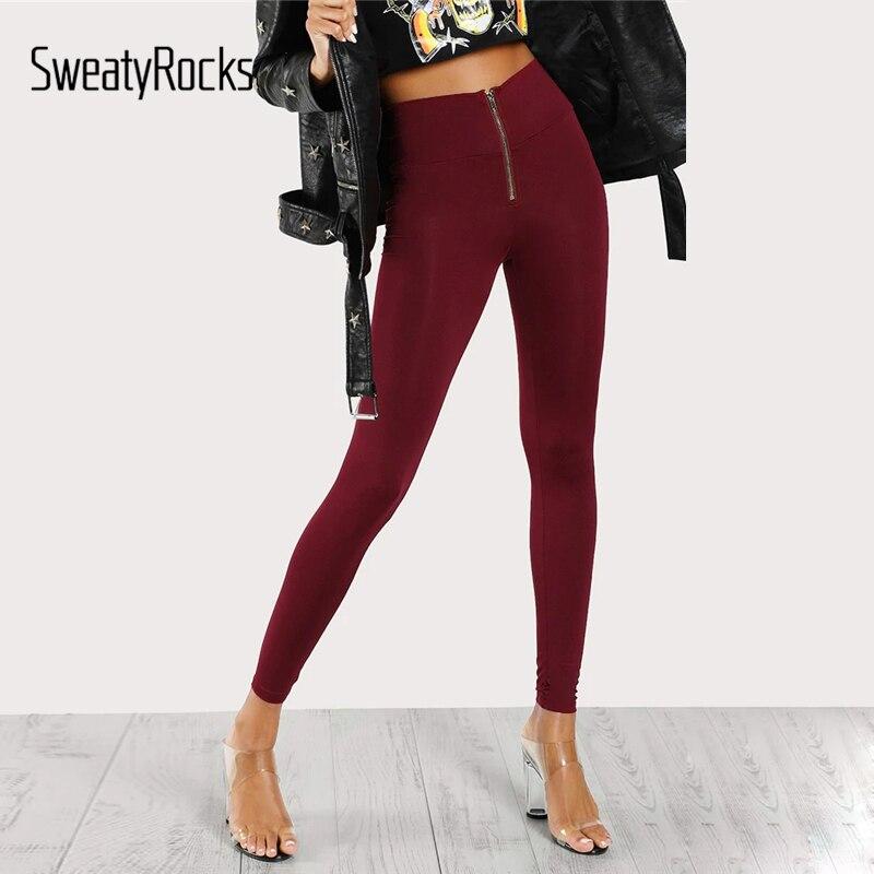 SweatyRocks High Waisted Zip Front Solid   Leggings   Active Wear Women Workout Burgundy   Leggings   2019 Spring Casual Skinny   Leggings