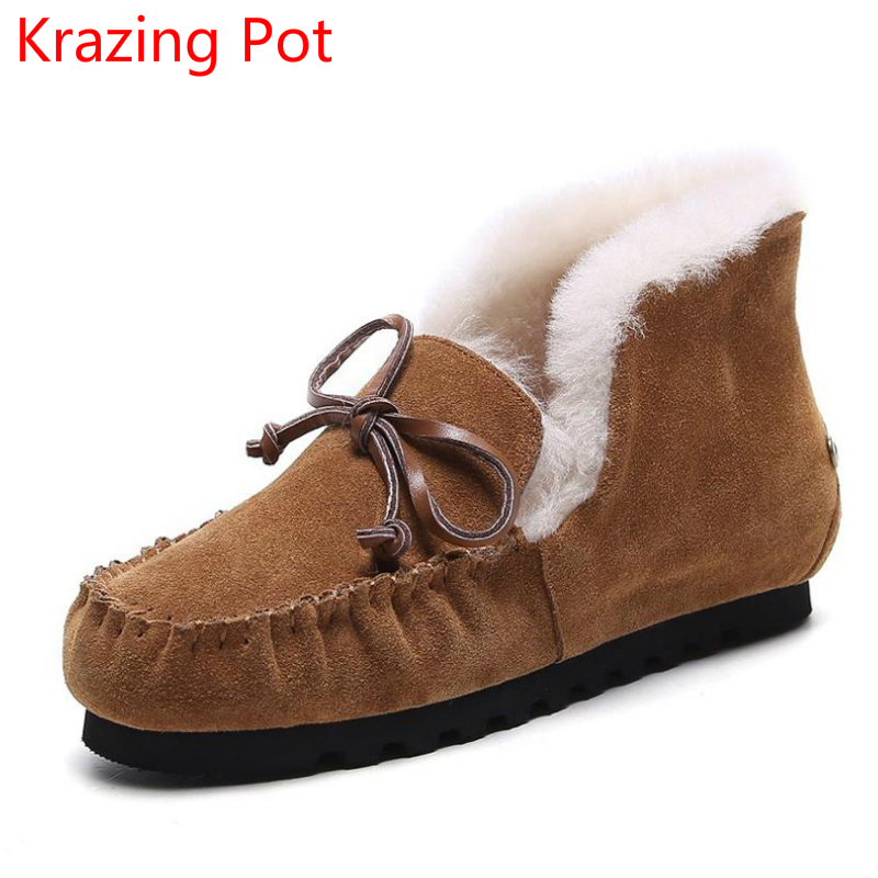 2018 Brand Winter Shoes Large Size Preppy Style Cow Suede Flat with Fur Winter Boots Bowtie Superstar Keep Warm Snow Boots  L59
