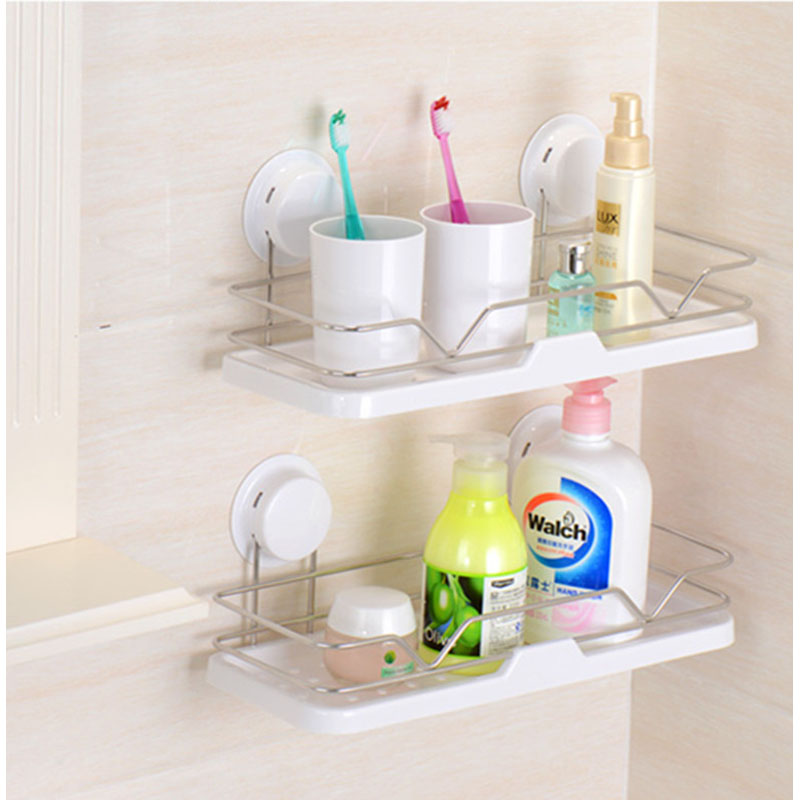 Suction Bathroom Shelf Modern Style Plastic Stainless Steel Wall Hanger Accessories 260122 In Shelves From Home Improvement On