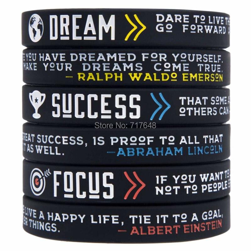 300 pcs Dream Focus Success ของ Emerson Einstein Lincoln สายรัดข้อมือซิลิโคนจัดส่งฟรีโดย FEDEX A-ใน กำไลข้อมือ จาก อัญมณีและเครื่องประดับ บน   1