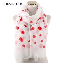 b322c66f8d FOXMOTHER New Fashion Wrap Women Spring Summer White Pink Grey Color Poppy  Flower Print Scarfs Ladies Stole Shawl Echarpes