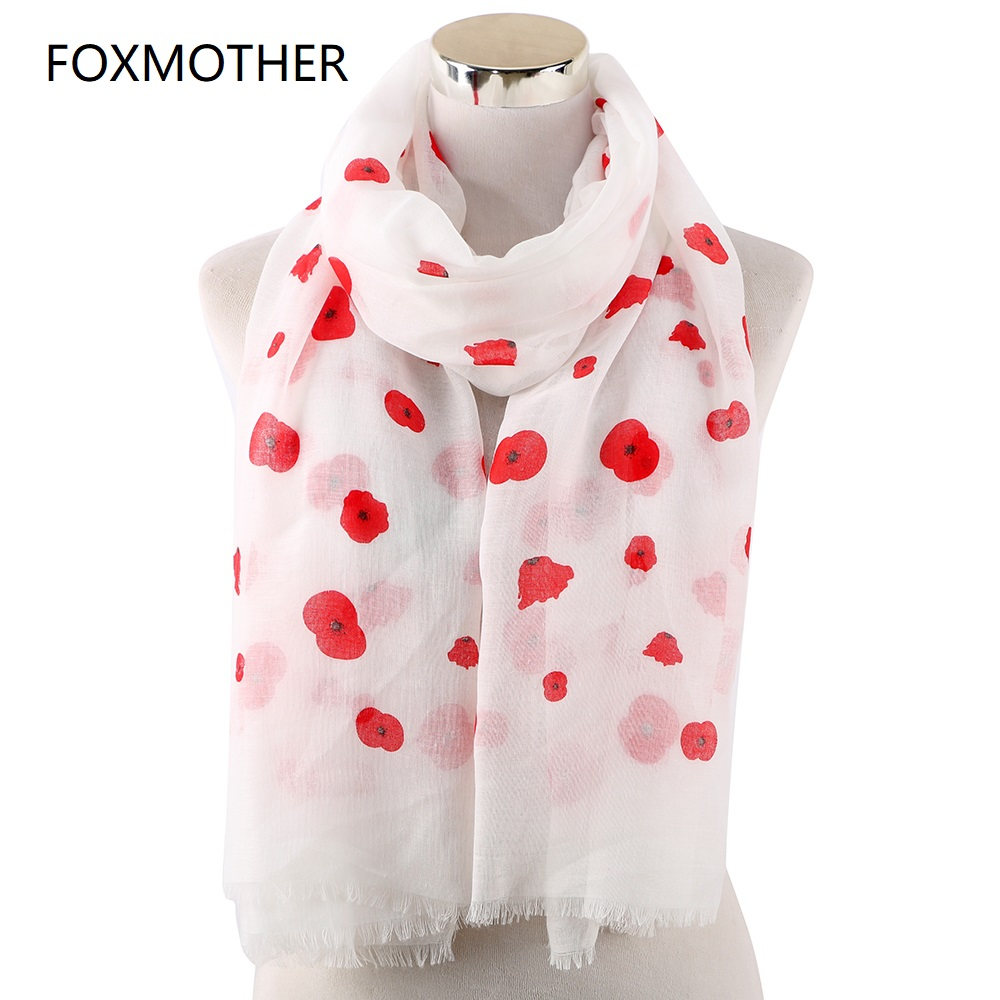 FOXMOTHER New Fashion   Wrap   Women Spring Summer White Pink Grey Color Poppy Flower Print   Scarfs   Ladies Stole Shawl Echarpes