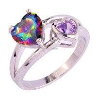 Wholesale New Fabulous Authentic Heart Cut Rainbow Sapphire Amethyst Purple 925 Silver Ring Fashion Size 6 7 8 9 10 11 Free Ship