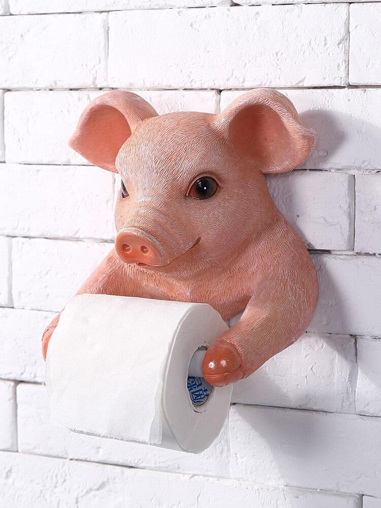 Creative Toilet Kitchen Paper Towel Rack Resin Cute Pig European Bathroom Toilet Roll Paper Rack Wall Hanging Decoration Crafts