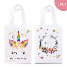 5pcs Reusable Unicorn Shopping Bags Candy Gift Handbag for Female Girls Laminating Waterproof Flower Prints Non-woven Fabric Bag