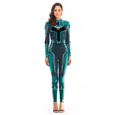 Captain Marvel Carol Danvers Cosplay Costume Tights Zentai Bodysuit Superhero Jumpsuits